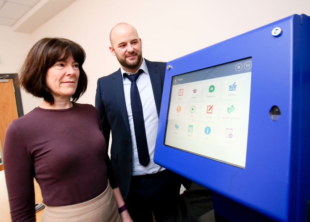 Core Systems, global experts in prisoner self-service technology solutions, has accessed expertise from Ulster University to further develop its latest software product, which is improving prisoner rehabilitation and streamlining criminal justice systems across the globe. Pictured are Patricia O'Hagan, Chief Executive Officer of Core Systems and Dr Raymond Bond, lead researcher from Ulster University's UX Lab.